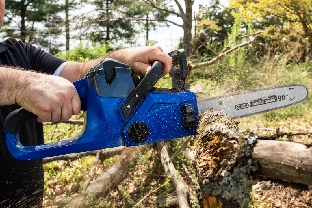 40 Volt Chain Saw from Wild Badger Power sawing