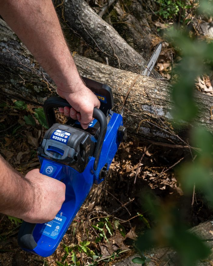 40 Volt Chain Saw from Wild Badger Power top down cutting