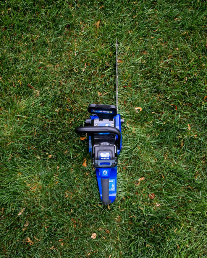 40 Volt Chain Saw from Wild Badger Power top down grass