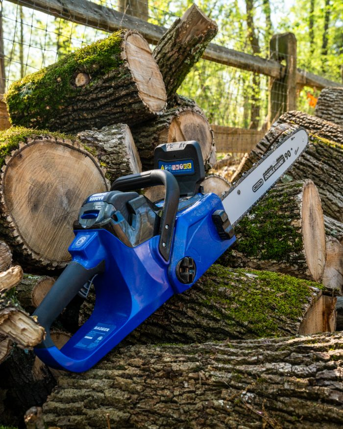 40 Volt Chain Saw from Wild Badger Power on logs