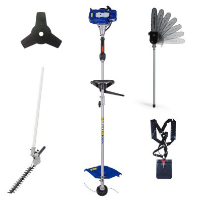 4-in-1 Multi Tool with 26CC Gas 2-Cycle String Trimmer, articulating pole saw attachment, articulating hedge trimmer attachment, and 3 tooth brush cutter blade