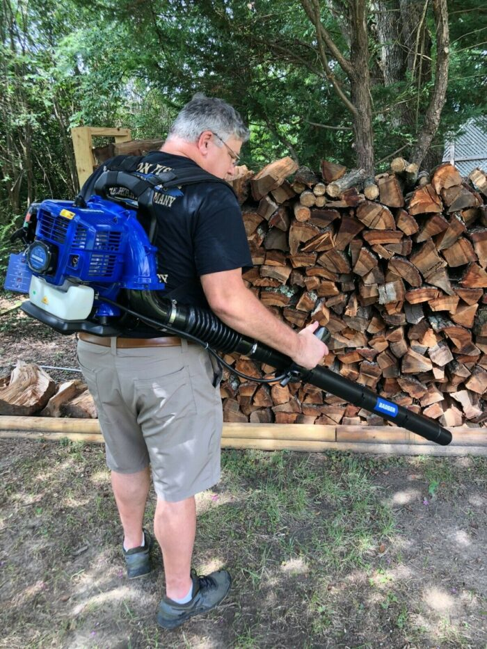 43CC Full Crank 2 Cycle Backpack Blower in use