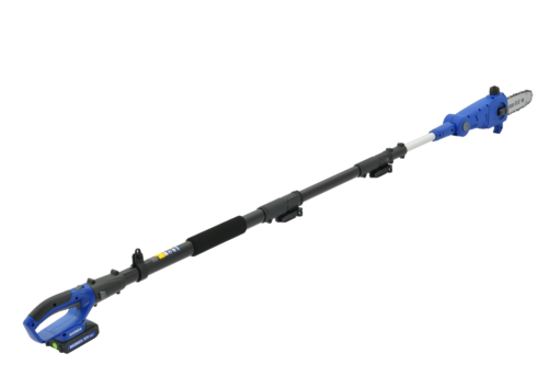 Side view of wild badger power telescoping pole saw