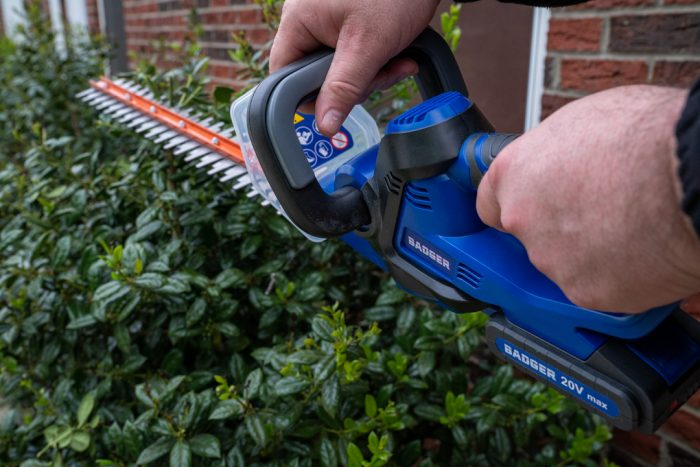 20Volt Hedge Trimmer from Wild Badger Power in use