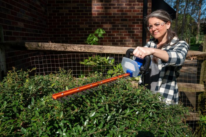 20Volt Hedge Trimmer from Wild Badger Power trimming bushes
